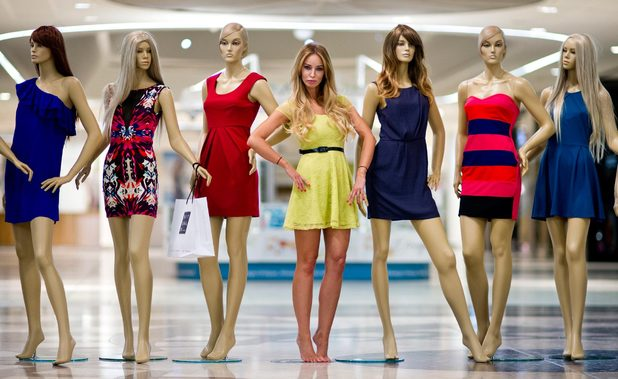TOWIE's Lauren Pope at Lakeside Shopping Centre in a 'night of the living mannequins' style photo shoot