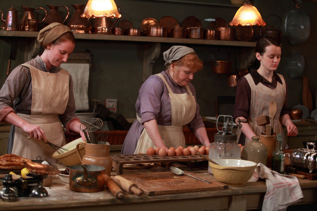 Lesley Nicol as Mrs Patmore and Sophie McShera as Daisy Mason