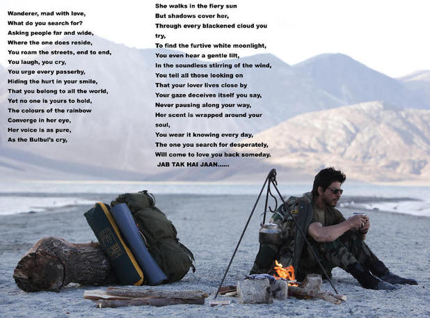 Challa lyrics as posted by Shah Rukh Khan on Twitter