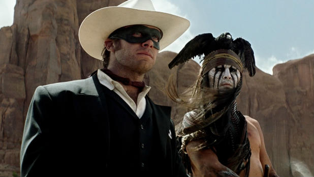 Johnny Depp and Armie Hammer ride into action for Jerry Bruckheimer and Disney's 'The Lone Ranger'.