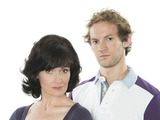 Dido Miles and Nathan Wright as Emma Reid and Chris Reid in Doctors
