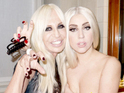 Lady GaGa poses topless with Donatella Versace in Milan.