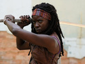 The Michonne actress also offers tips on how to survive a zombie apocalypse.