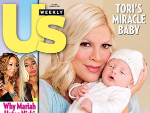 Tori Spelling appears with her newborn son Finn Davy on the cover of Us Weekly.