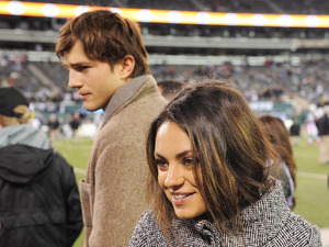 Ashton Kutcher and Mila Kunis during the Houston Texans at the NY Jets on Monday October 8, 2012 at Met Life Stadium in East Rutherford, New Jersey