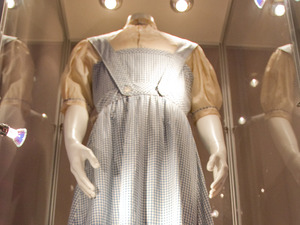 The dress that Judy Garland wore in the Wizard of Oz film. The dress is on display at the Stafford Hotel in London before being auctioned in Beverly Hills on November 9th and 10th at the Icons and Idols event.