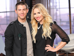 Nick Jonas, Demi Lovato at The X Factor USA Judges' Houses