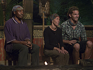 """Create a Little Chaos"" - Rusell Swan, Denise Stapley and Malcolm Freberg of the Matsing Tribe during Tribal Council on the fourth episode of Survivor: Philippines, Wednesday, October 10"