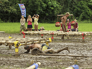 """Create a Little Chaos"" - Michael Skupin (crawling) of the Tandang Tribe and Carter Williams of the Kalabaw Tribe compete in the Immunity Challenge during the fourth episode of Survivor: Philippines, Wednesday, October 10"
