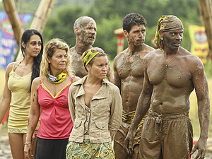 """Create a Little Chaos"" - Roberta ""RC"" Saint-Amour, Lisa Whelchel, Michael Skupin, Abi-Maria Gomes, Peter ""Pete"" Yurkowski and Artis Silvester of the Tandang Tribe during the Immunity Challenge on the fourth episode of Survivor: Philippines, Wednesday, October 10"