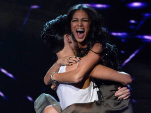 The X Factor Results Show: Rylan and Nicole celebrate.