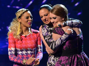The X Factor Results Show: Tulisa celebrates Ella getting through.
