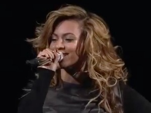 Beyoncé performing at Brooklyn's new Barclays Centre.