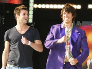 Presenters Steve Jones and Vernon Kay singing along to Tony Christie's Amarillo T4 on the Beach Weston-super-Mare, England - June 2005