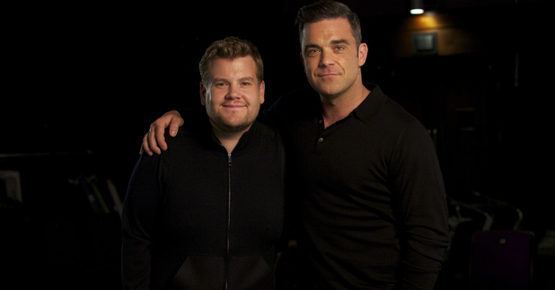 Robbie Williams and James Corden