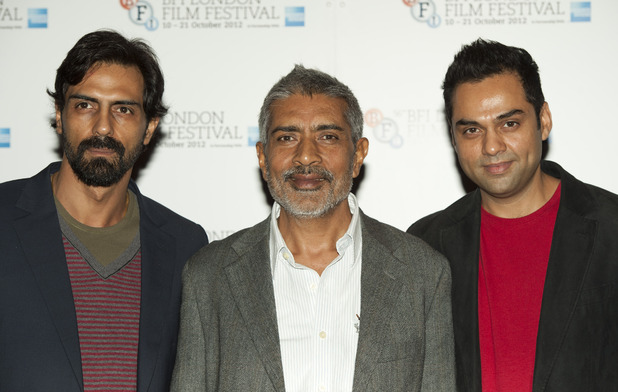 Arjun Rampal, Prakash Jha and Abhay Deol pictured at a photocell for Chakravyah, held in the Empire Leicester Square as part of the BFI London Film Festival 2012.