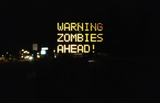 Zombie warning road side