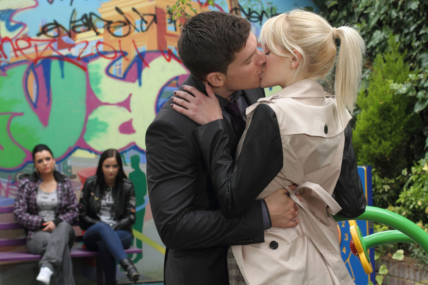 Lucy lets Joey kiss her in EastEnders