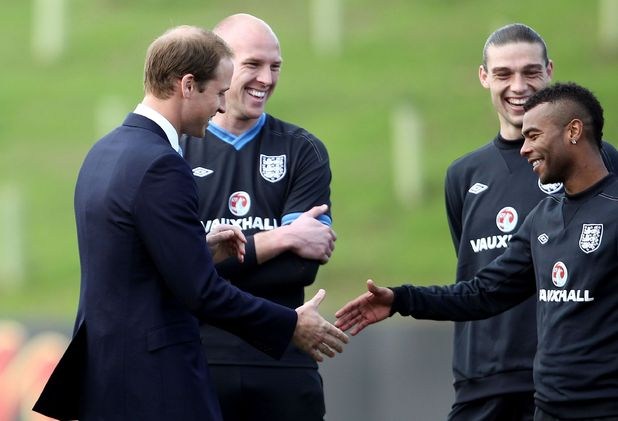 Prince William, Ashley Cole, Andy Carroll