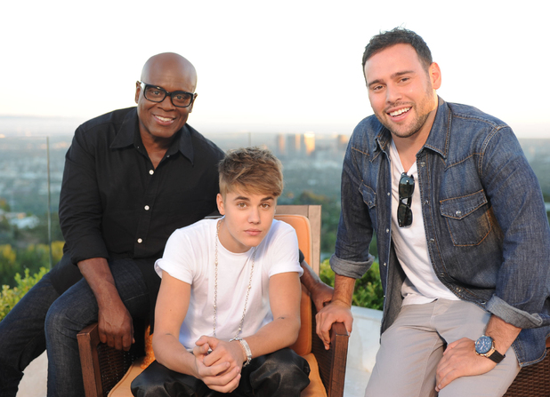 LA Reid with Justin Bieber and Scooter Braun