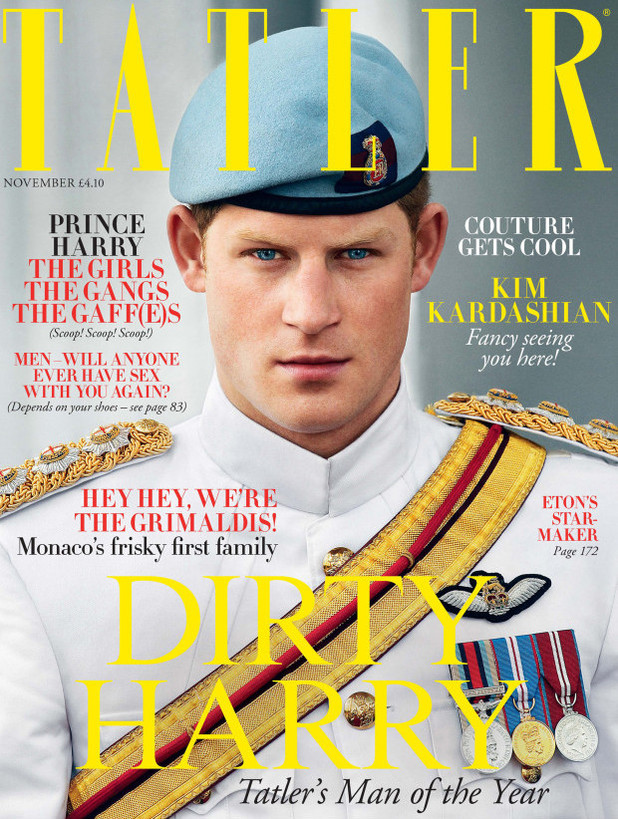 Prince Harry on the front cover of 'Tatler' magazine as 'Man of the year'