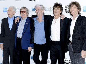 Charlie Watts, Bill Wyman, Keith Richards, Ronnie Wood and Mick Jagger arrive to attend the gala screening of 'Crossfire Hurricane' at Odeon Leicester Square as part of the  56th BFI London Film Festival