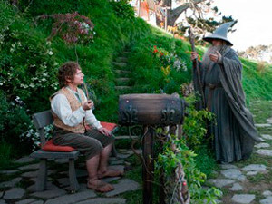 Martin Freeman as Bilbo Baggins alongside Ian McKellen as Gandalf in 'The Hobbit: An Unexpected Journey'