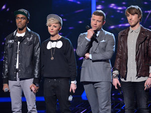 The X Factor Results Show: MK1 and Kye wait for the judges to decide.