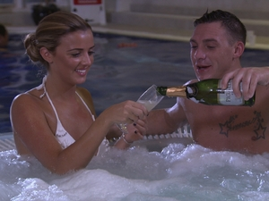 TOWIE: Lucy and Kirk enjoy each other's company in the jacuzzi