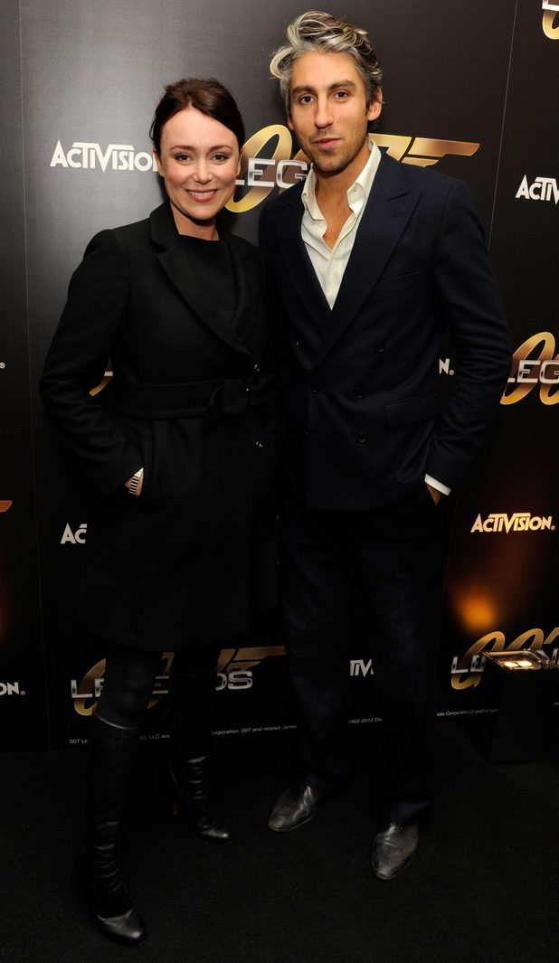 George Lamb and Keeley Hawes arriving at the 007 Legends launch event