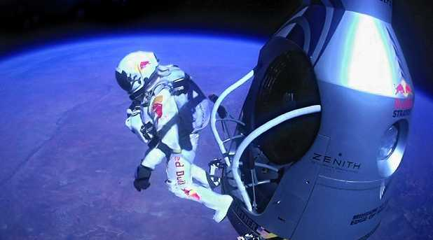 Felix Baumgartner leaps from the capsule