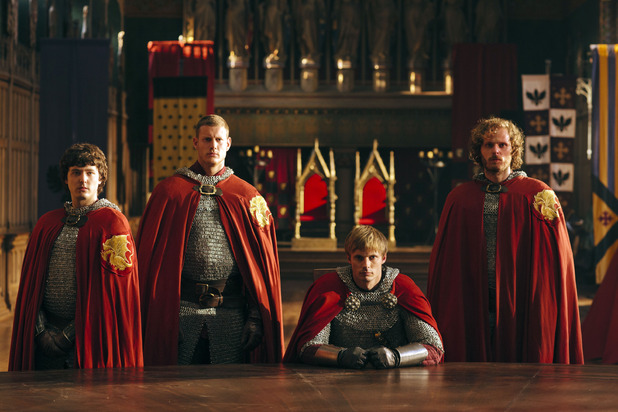Merlin S05E03 - &#39;The Death Song of Uther Pendragon&#39;: Mordred, Percival, King Arthur Pendragon and Sir Leon