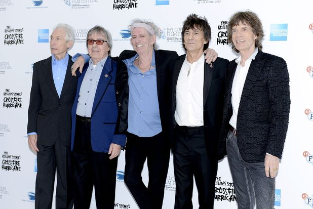 Charlie Watts, Bill Wyman, Keith Richards, Ronnie Wood and Mick Jagger arrive to attend the gala screening of &#39;Crossfire Hurricane&#39; at Odeon Leicester Square as part of the  56th BFI London Film Festival 