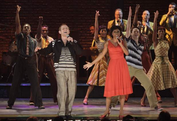 "Chad Kimball, left, and Montego Glover lead the cast of ""Memphis"" in a performance during the 64th Tony Awards, Sunday, June 13, 2010 in New York."