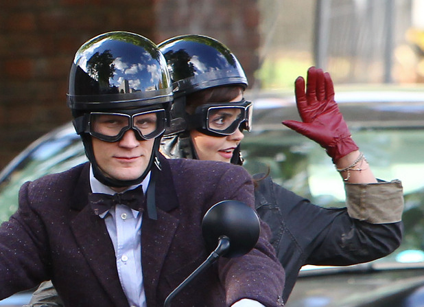 Matt Smith and Jenna-Louise Coleman filming on location in central London for the new series of 'Doctor Who'