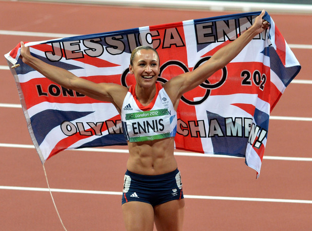 Great Britain's Jessica Ennis celebrates winning the Heptathlon, at the London 2012 Olympics at she will unveil her new plaque on Sheffield's Hollywood-style Walk of Fame when she returns to her home city.