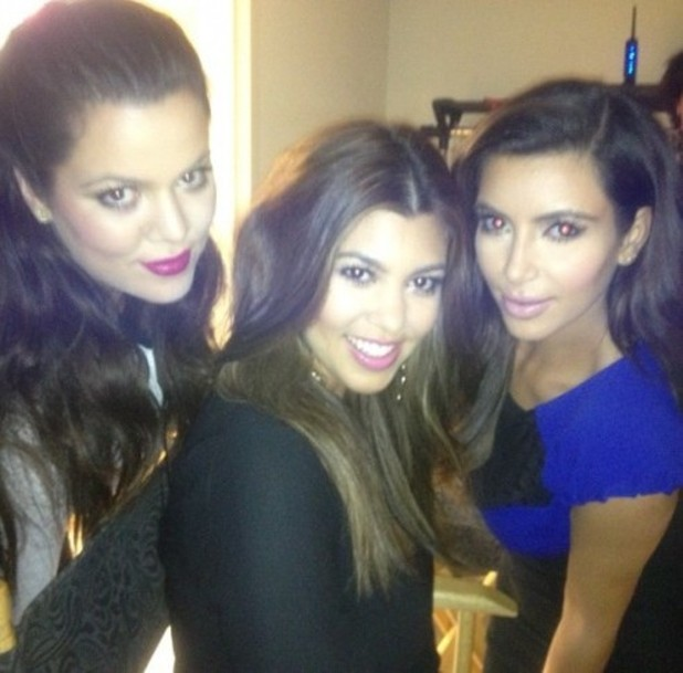 Kim Kardashian poses with sisters Kourtney and Khloe Kardashian