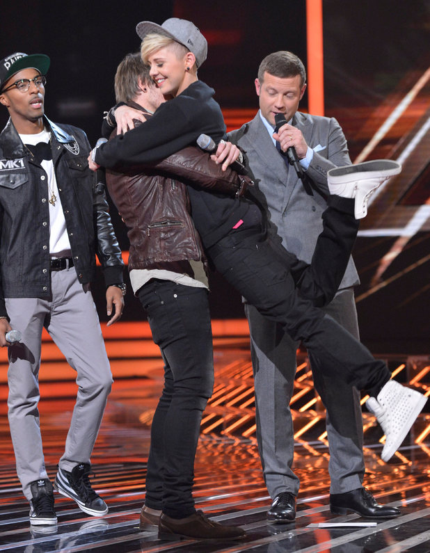 The X Factor Results Show: Charlie congratulates Kye.