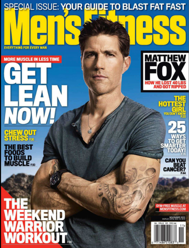 Magazine cover: Mens Fitness (Nov 2012 issue) featuring Matthew Fox