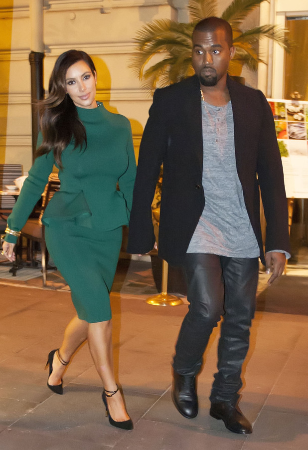 Kim Kardashian and Kanye West arrive back at their hotel Rome, Italy