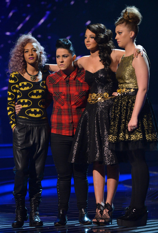 The X Factor Results Show: Tulisa and the girls wait for the results.