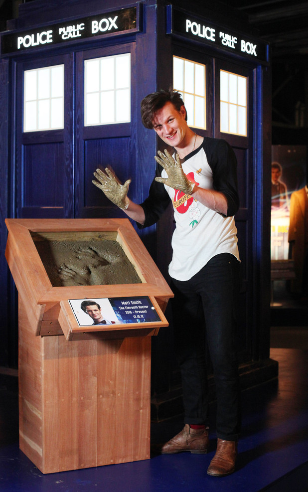 <em>Doctor Who</em>'s Matt Smith casts his hand prints in cement as he makes his first visit to The Doctor Who Experience in Cardiff Bay to unveil a new exhibit of monsters and props from series 7.