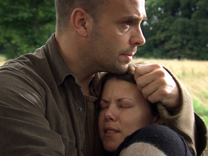 Joseph Millson and Sarah-Jane Potts in Holby City
