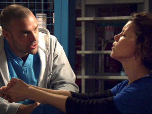 Sarah-Jane Potts and Joseph Millson in Holby City