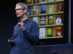 Apple CEO Tim Cook speaks during an event to announce new products in San Jose