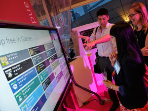 Microsoft Corp. launches Windows at a regional launch event at the Esplanade in Singapore on Thursday, Oct. 25.