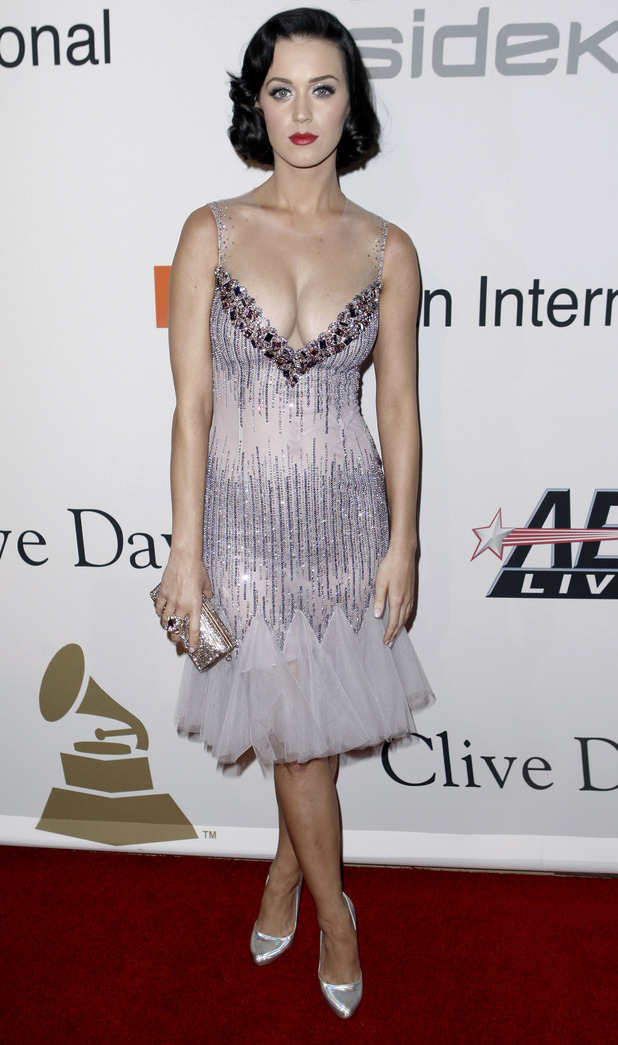Katy Perry arrives at the Clive Davis pre-Grammy party in Beverly Hills