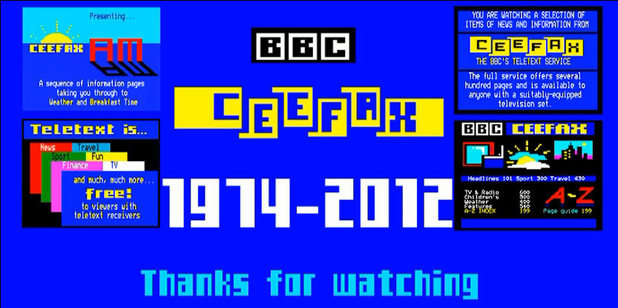 The final Ceefax page ever reading &quot;1974 - 2012: Thanks for watching&#39;
