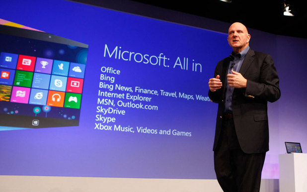 Microsoft CEO Steve Ballmer announces the availability of Windows 8 at launch event in NYC.