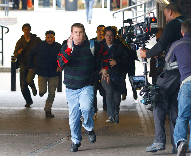 James Corden filming Paul Potts biopic